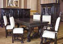 Комплект гостиной «Испанский ренессанс». В комплект входит: Буфет 4-двери, Арджинтар 2-двери, стол обеденный, стул - 4шт., стул с подлокотниками - 2шт.